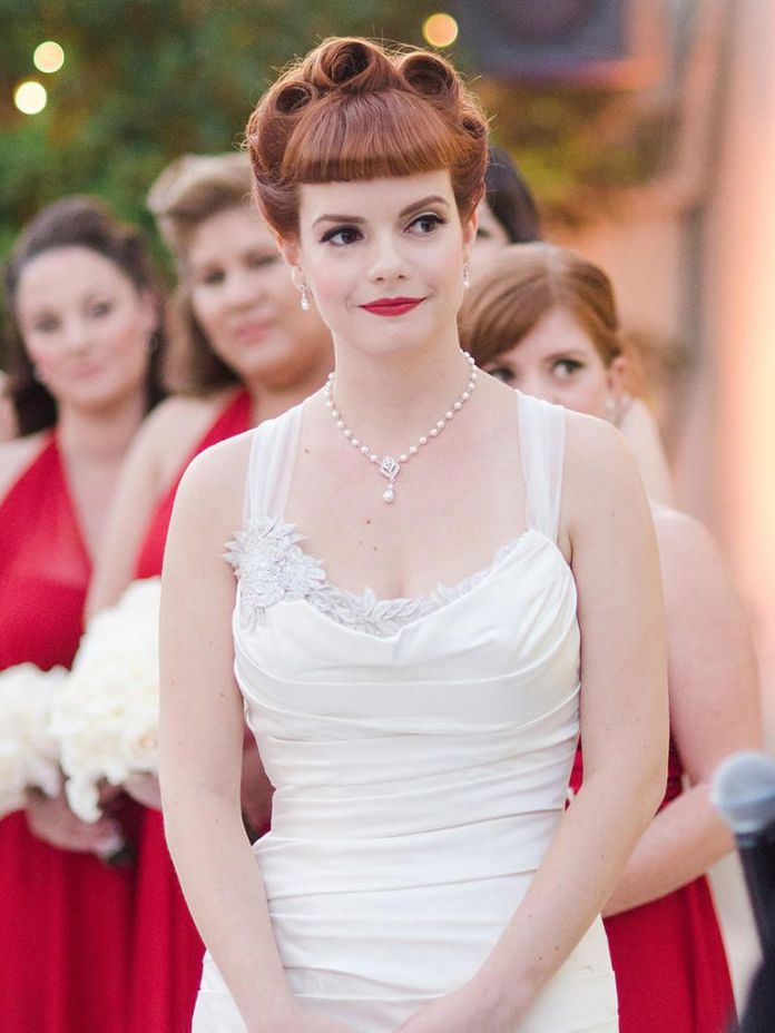 The-Caramel-Brown-Bangs-with-Rolled-Up-Puffs-All-Over Most Beautiful Wedding Hairstyles with Bangs