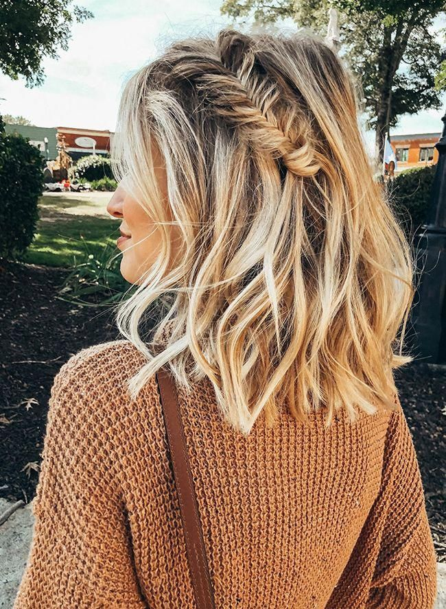Angled-Bob-with-Fishtail-Braids Most Trendy and Terrific Medium Hairstyles 2020