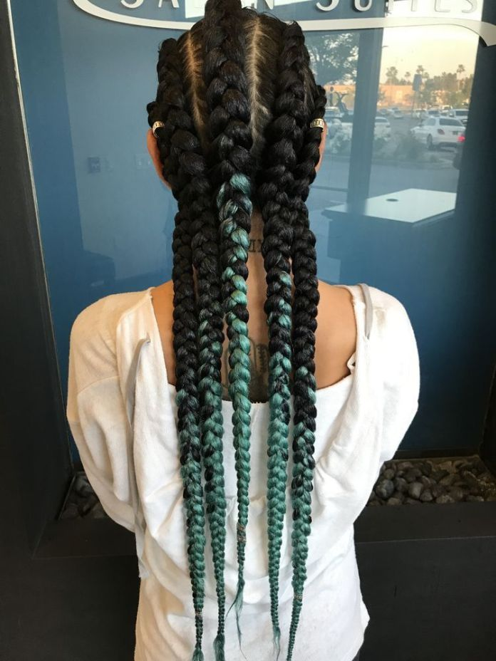Black-and-Green-Cornrows Endearing Jumbo Box Braids to Look Amazing