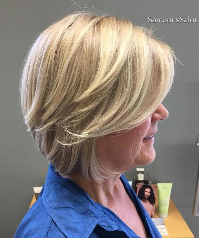 Blonde-Layered-Bob Short Hairstyles for Older Women Who Want a Timeless Look