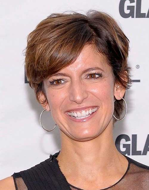 Brown-Straight-Pixie-for-Over-50-Women Elegant Pixie Hairstyles For Women over 50