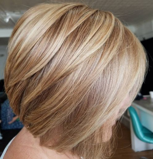 Caramel-Blonde-Bob-with-Dimensional-Layers 15 winning-looks short hairstyles for Women Over 40