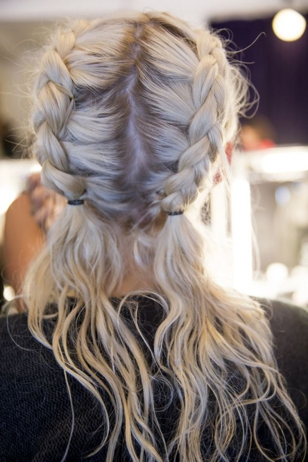 Casual-and-Self-Tied-Double-Dutch-Braid-Hairstyle Glamorous Dutch Braid Hairstyles to Try Now