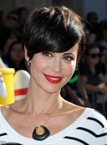 Catherine-Bell's-Lovely-Messy-Pixie-Cut Celebrity Short Hairstyles for Women
