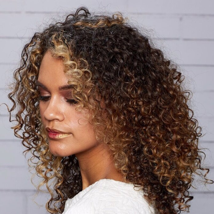 Curly-Hair-with-Blonde-and-Caramel-Highlights Most Trendy and Terrific Medium Hairstyles 2020