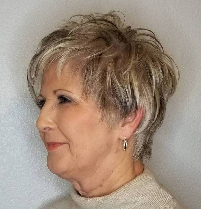 Feathered-Gray-Cut-with-Highlights-and-Lowlights Shaggy Hairstyles for Women with Fine Hair over 50