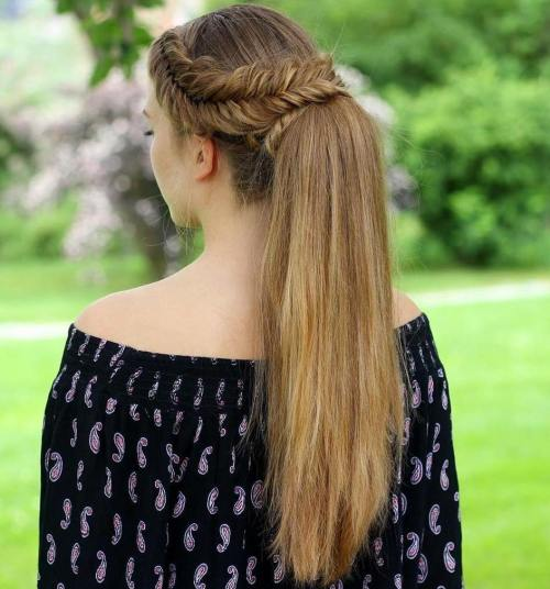 Fishtail-Wrapped-Ponytail 14 gorgeous Hairstyles and Haircuts for Long Straight Hair