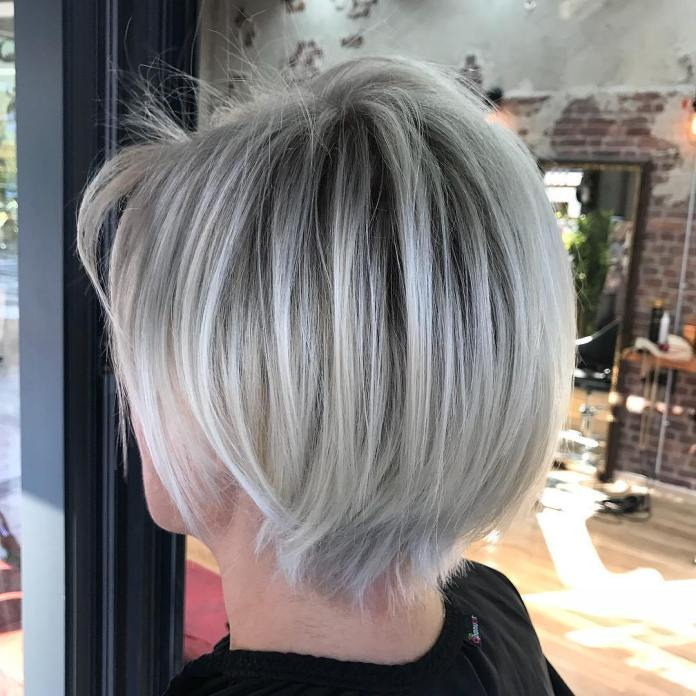 Gray-Bob-with-Dark-Roots Short Hairstyles for Older Women Who Want a Timeless Look