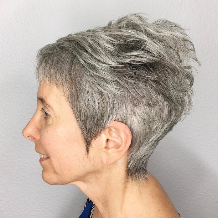Gray-Tapered-Pixie-with-Feathered-Crown Short Hairstyles for Older Women Who Want a Timeless Look