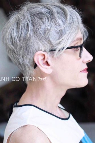 Grey-Messy-Pixie-With-Long-Bang Elegant Pixie Hairstyles For Women over 50
