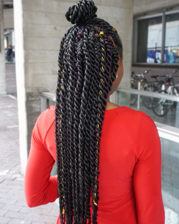 Half-Updo-Twists Endearing Jumbo Box Braids to Look Amazing