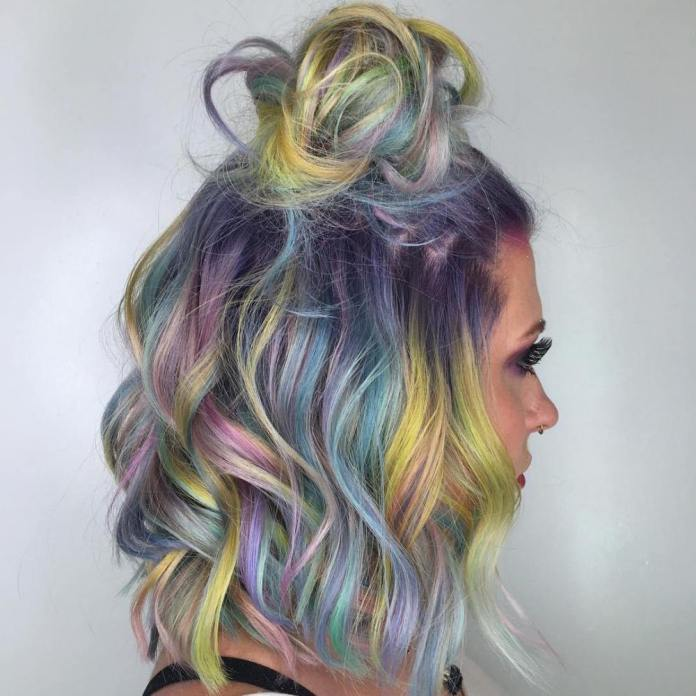 Iridescent-Half-Bun Quick and Easy Short Hair Buns to Try