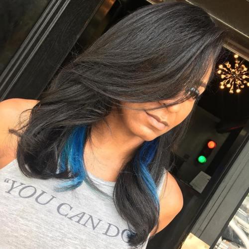 Long-Blue-Streaks 10 stunning long Hairstyles for Black Women