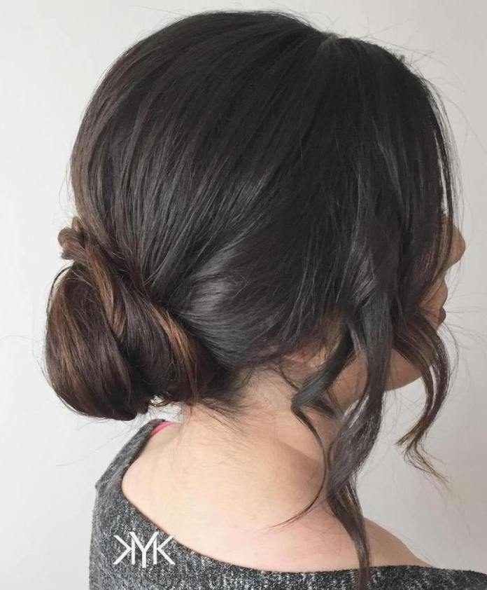 Low-Bun-with-Face-Framing-Locks Quick and Easy Short Hair Buns to Try
