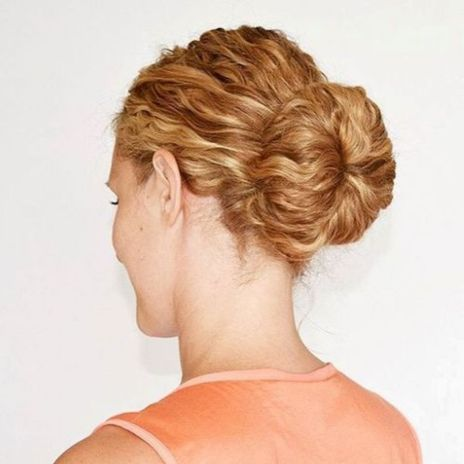 Low-Sock-Bun Quick and Easy stunning Updos for Curly Hair
