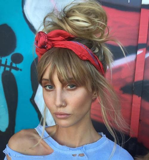 Messy-Bun-with-Bangs 10 Messy Bun Hairstyles to Refresh Your Casual Look