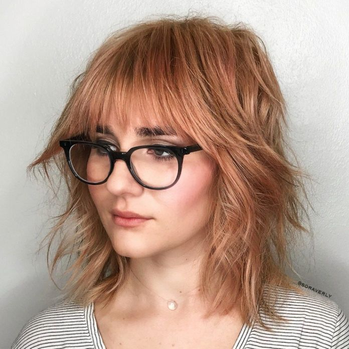 Messy-Hairstyle-with-Bangs Most Trendy and Terrific Medium Hairstyles 2020