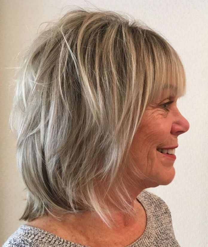 Neck-Length-Shaggy-Cut-with-Blunt-Bangs Shaggy Hairstyles for Women with Fine Hair over 50