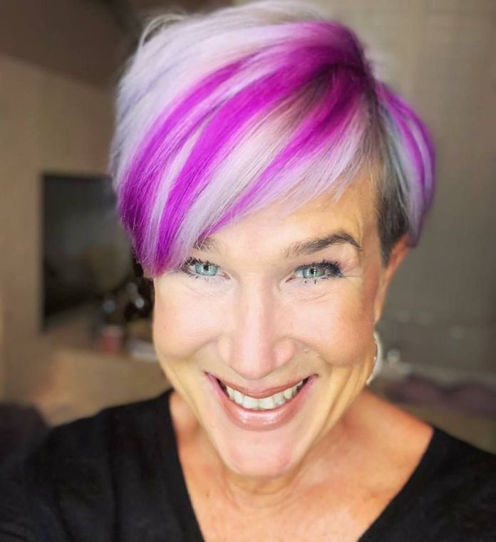 Pastel-Pink-Hair-with-Undercut Most Youthful Hairstyles for Older Women 2020