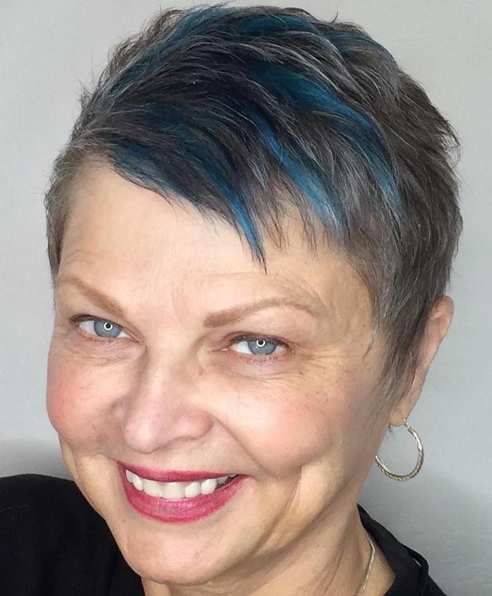 Pixie-with-Blue-Accents Short Hairstyles for Older Women Who Want a Timeless Look