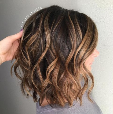 Point-Cut-Bob-with-Caramel-Balayage 12 Winning-looks Layered Bob Hairstyles