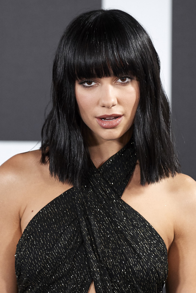 Pure-Black-Bangs-and-Lob Most Trendy and Terrific Medium Hairstyles 2020