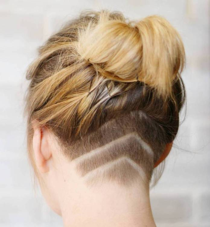 Sheared-Nape-and-Bun Quick and Easy Short Hair Buns to Try