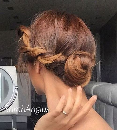Side-Twist-and-Bun Quick and Easy Short Hair Buns to Try
