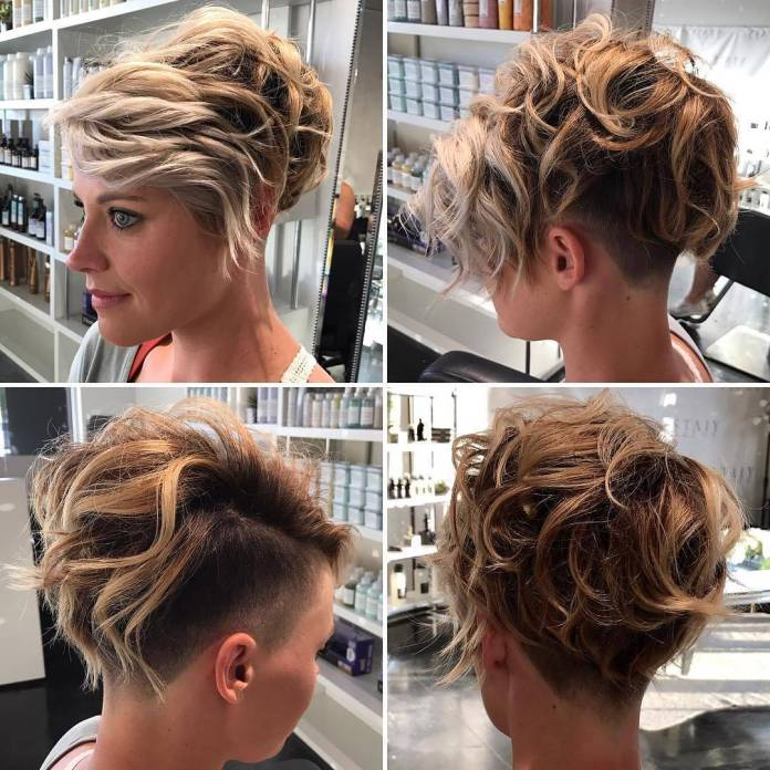 Sides-Shaved-with-Big-Curls Roaring and Attractive Short Hairstyles 2020