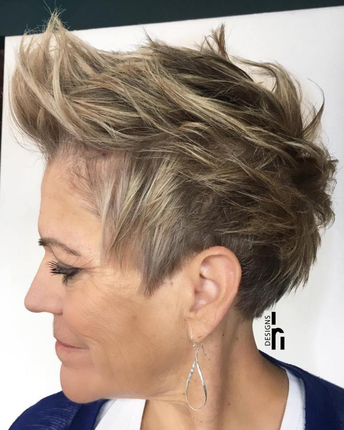 Spiky-Dark-Ash-Blonde-Pixie. Short Hairstyles for Older Women Who Want a Timeless Look