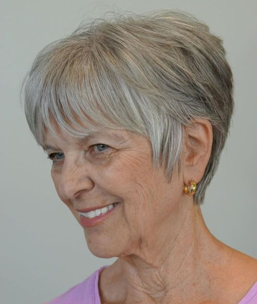 Textured-Gray-Pixie-with-Sideburns 12 best pixie hairstyles for women over 50