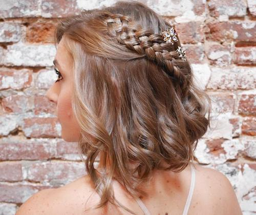 Tousled-Bob-with-a-Diagonal-Braid 15 eye-catching Prom Hairstyles for Short Hair