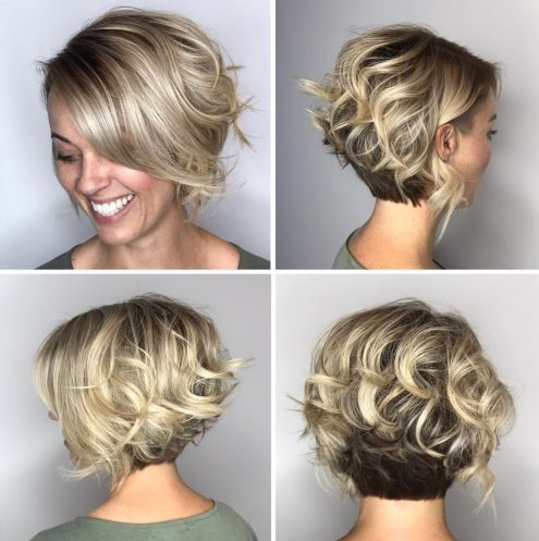 Two-Tone-Curly-Bob-with-Nape-Undercut 15 flattering short hairstyles for thin hair