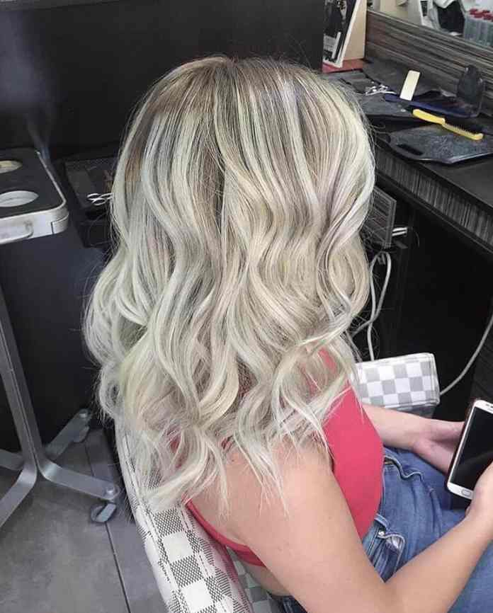 Wavy-Silver-Blonde-Hair Most Trendy and Terrific Medium Hairstyles 2020