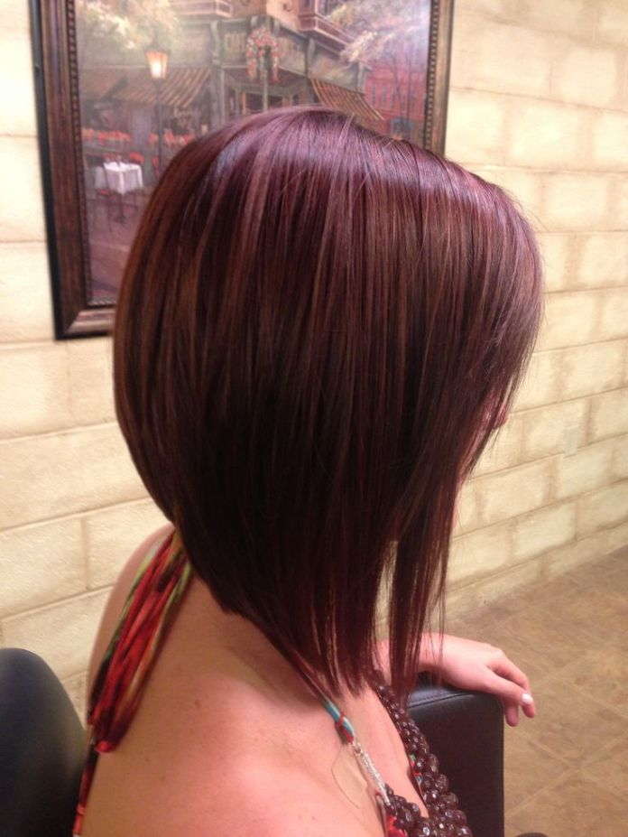 Wine-Red-Long-Angled-A-Line-Bob 20 of the Most Hottest A-Line Bob Hairstyles