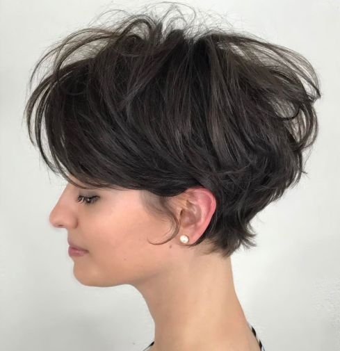 Adorable-Long-Tousled-Brunette-Pixie 12 Pixie Haircuts for Thick Hair that will inspire your next cut