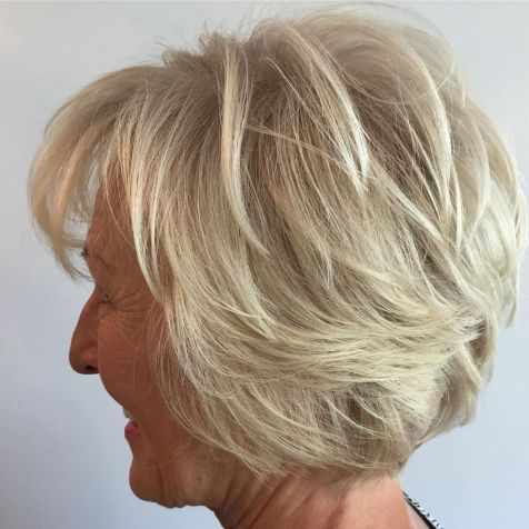 Ash-Blonde-Short-Layered-Hairstyle Hairstyles for Women Over 60