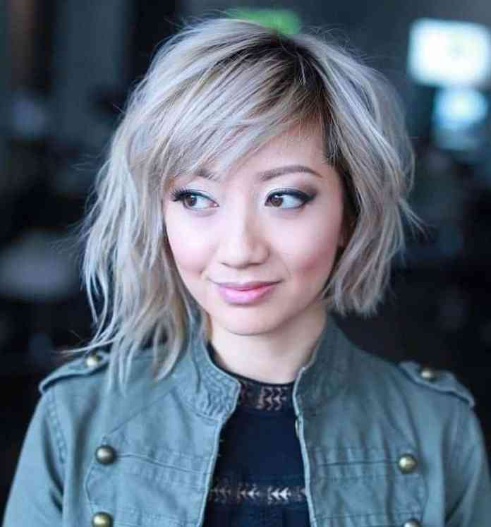 Asymmetrical-Bob-3 Flawless Blonde Bob with Bangs Hairstyles to Try 2020