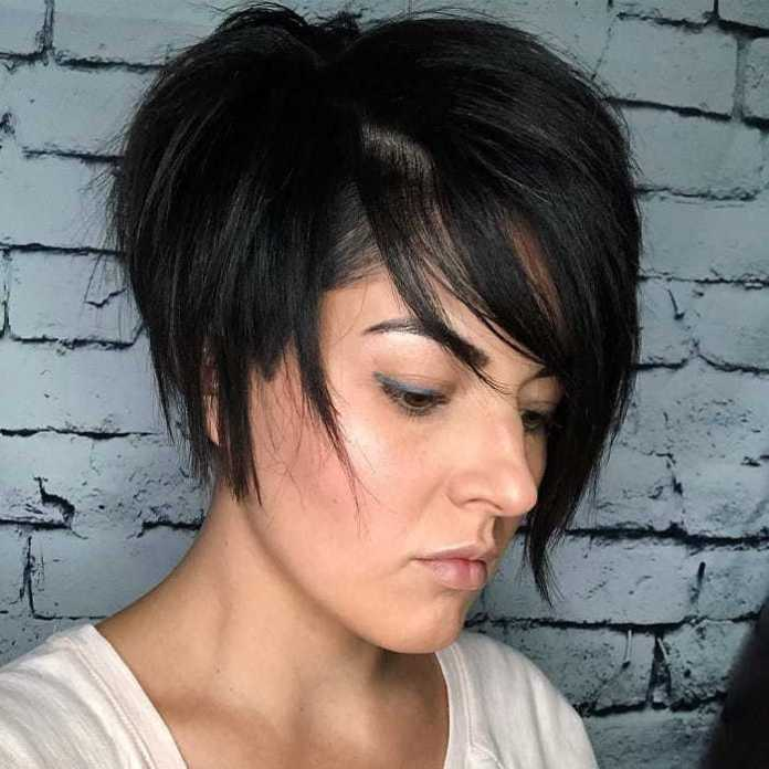 Asymmetrical-Bob-with-Dramatic-Bang Bob With Side Bangs You'll Want to Copy 2020
