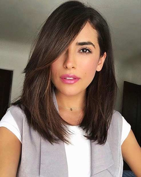 Bangs-and-Layered-Bob Most Hottest and Sexiest Long Bob Haircuts