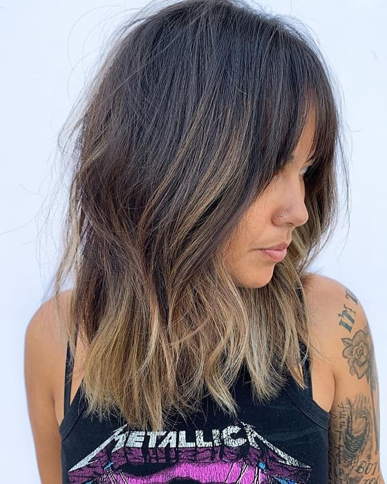 Bardot-Bangs Bewitching Brunette Ombre Hair Ideas (2020 Guide)