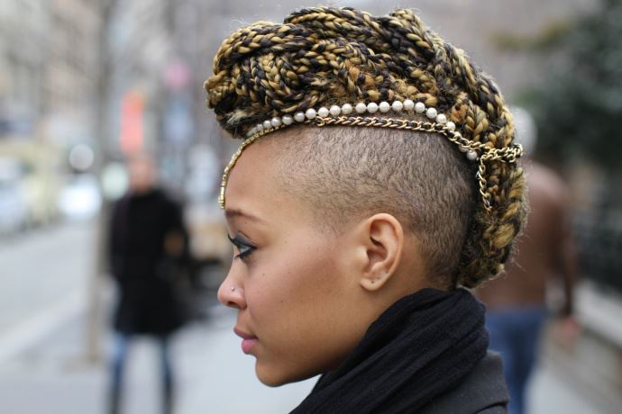 Blonde-Black-Fusion Brilliant Half Shaved Head Hairstyles for Young Girls
