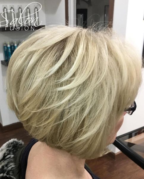 Blonde-Bob-with-Angled-Layers Hairstyles for Women Over 60