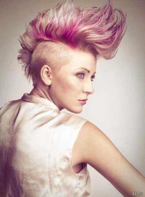 Blonde-and-Pink-Short-Mohawk-Hairstyle Short Blonde And Pink Hairstyles