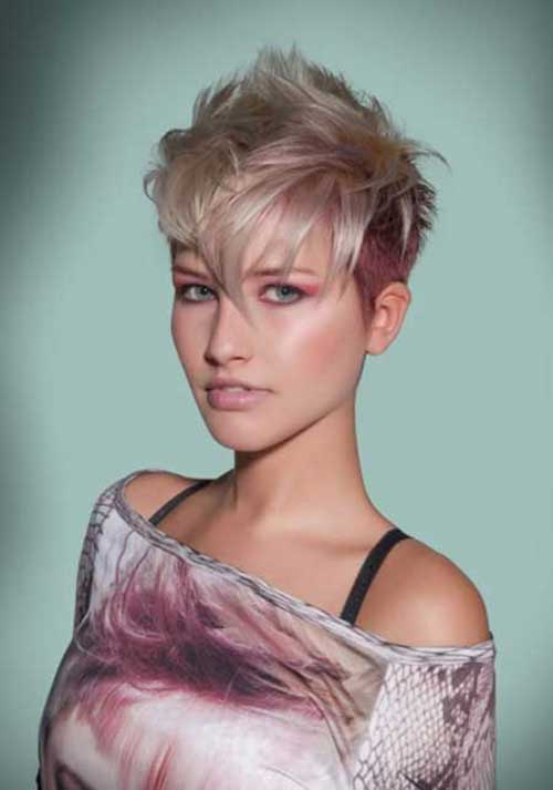 Blonde-and-Pink-Short-Pixie-Haircut Short Blonde And Pink Hairstyles