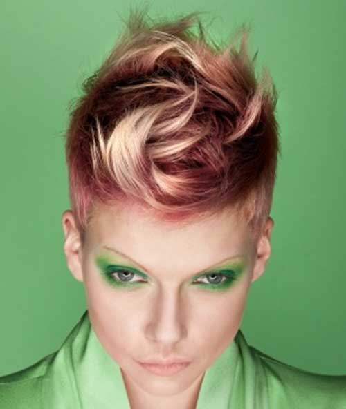 Blonde-and-Pink-Short-Spiky-Pixie-Hair Short Blonde And Pink Hairstyles