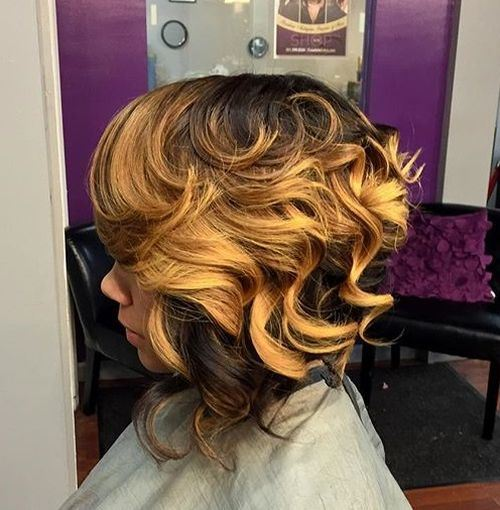 Bold-Balayage-–-African-American-Inverted-Bob-Hairstyle Hottest inverted Bobs Hairstyles 2020
