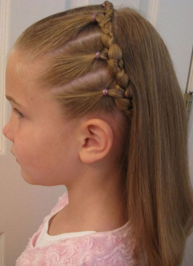 Braid-Band-with-Sleek-Hair-for-Kids Cutest Braided Hairstyles for Little Girls Right Now