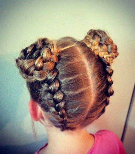 Braided-Buns Cutest Braided Hairstyles for Little Girls Right Now