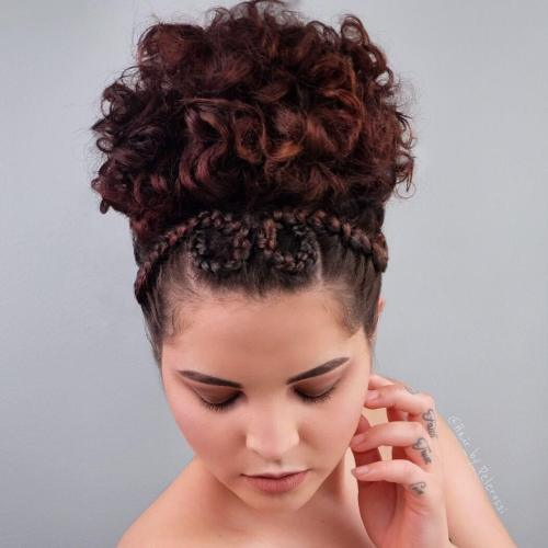 Braided-Updo-with-Curly-Top 10 Super-Flattering Braided Hairstyles for Curly Hair of Different Types